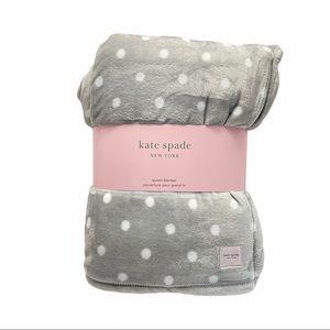 New KATE SPADE Fleece Blanket Polka Dot Gray Queen